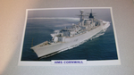 HMS Cornwall British 1985 warship framed picture